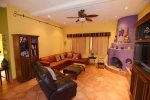San Felipe vacation rental house - casa roja:  Living room leather couch