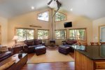 Open living.  Comfortable furnishings. Wood burning stove and baseboard backup.