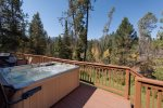 Great views while you`re soaking. 8 person hot tub.