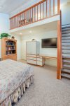 Great kids room with ladder access sleeping loft. Large screen TV.