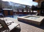Heated pool and jacuzzi with incredible mountain views