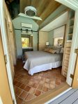 Private pool house Bedroom w/ shower, sink and toilet