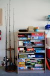 Family board games and fishing poles