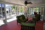Covered patio with tv