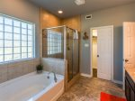 Walk in shower and tub in the master bathroom