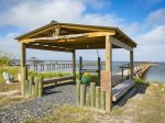 The private fishing pier has a 30 ft by 10 ft t-head and a 1000 watt above water green light