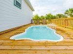 Small 4 ft deep spa pool on the back deck