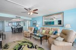 Enjoy bay views and plenty of seating in the living room