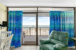 The living room has breathtaking views of Aransas Bay