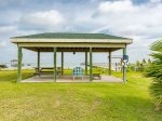 Covered seating and picnic area overlooking Copano Bay