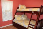 Bedroom 4 has bunk beds with a full on the bottom