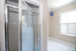 Large bathroom upstairs with shower