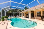 Electrically heated swimming pool featuring breathtaking sunsets with it`s western exposure