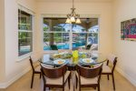 The dining room features great views to the pool area