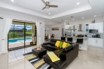 Bright living room and kitchen
