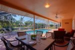 Tranquil Turtle covered lanai for outdoor sitting and lounging