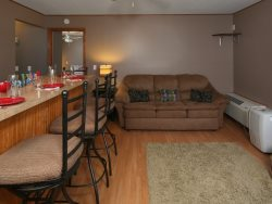Great separate Guest House set up for kids or third couple with sofa sleeper, bean bags and a high top bar.