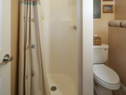 Cute guest house bathroom with a walk in shower