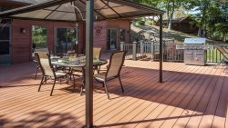 Theres lots of room on this 1,000 square foot deck overlooking the lake.  Grill away or sit back and relax.  You call the shots.