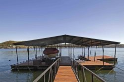 Here is your private dock with a 10 X 24 foot open slip, outdoor patio set and swim platform.