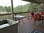 Upper Deck with 2-Person Hot Tub, Patio Set and Swing