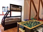 Kid`s Den with Twin/Full Bunkbed, Foosball, Shuffleboard and Big TV