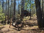 Loveseat Swing in Forest Below Lodge