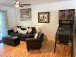 Lower Family Room Area with DirecTV, Pinball Machine, Games, Queen Sofabed