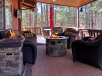 Amazing Forest-View Deck with 3 Propane Firepits, TV, Lounge Area and 6 Seat Patio Set