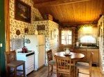 Ivy Room Kitchen and Dining Area in Upper Level of Log Cabin