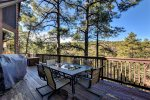 Upper Level Deck has Chairs, Patio Set, BBQ, Views