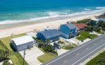 Sky view shows plenty of parking, nice back yard, private beach and Great Atlantic Ocean