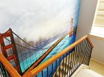 Staircase with Golden Gate Bridge