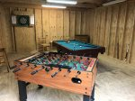 Community Game Room at Chimney Cabins with Pool Table and Foosball