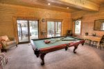 Terrace level game room with tournament quality pool table