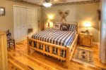 King Master Loft with Rustic Log Bed
