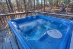 Hot Tub located on the wooded side of Eagles Nest back deck