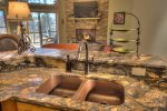 Beautiful double copper sinks in kitchen