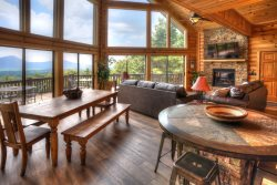 Five Seasons - Gorgeous Mountain Cabin Rental near Helen, Georgia. Incredible Panoramic Views. Spacious Decks, Outdoor Firepit.