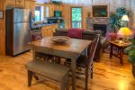 Cozy up in the living room with gas log fireplace and satellite TV