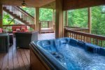 Large hot tub on the lower level