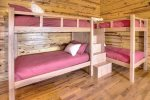 Double custom bunks on the lower level