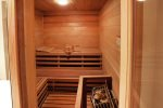 Lower level full bath with walk in shower and adjoining sauna