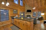 Blue Lake Cabin - View of Living Room From Kitchen