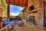 Rustic Elegance - Outdoor Den Area w/ Flat Panel TV and Wood Burning Fireplace