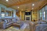 Rustic Elegance - Lower Level Den Area w/ Flat Panel TV and Gas Fireplace