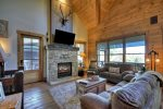 Rustic Elegance - Entry Level Living Area w/ Flat Panel TV and Gas Fireplace