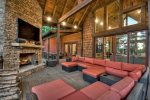 Nottely Island Retreat - Upper Level Deck Seating Area with TV, Wood Fireplace and Lake View