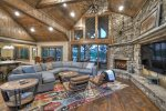 Nottely Island Retreat - Upper Level Deck Dining Area with TV, Wood Fireplace and Lake View