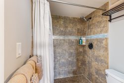 Bathroom with granite counters and walk-in shower